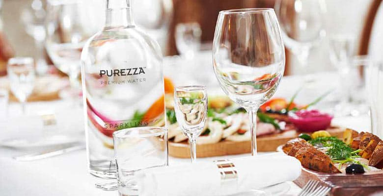 Purezza bottles in restaurant